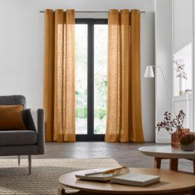 Burnt Orange Linen Curtain
