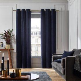 Navy Blue Velvet Curtain