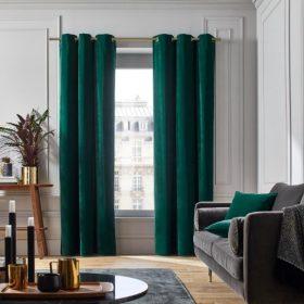 Bright Green Velvet Curtain