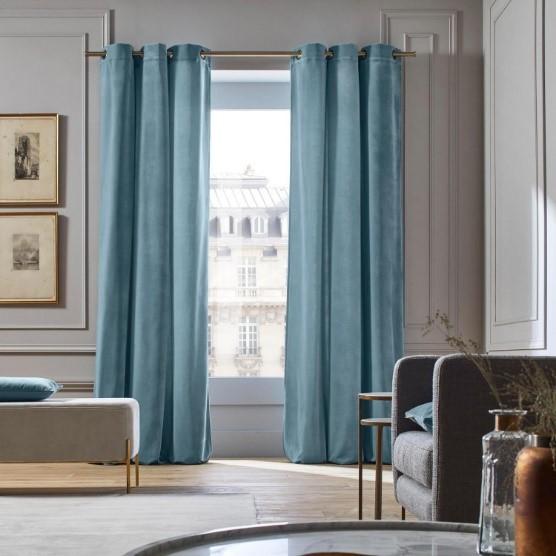 Baby Blue Velvet Curtain