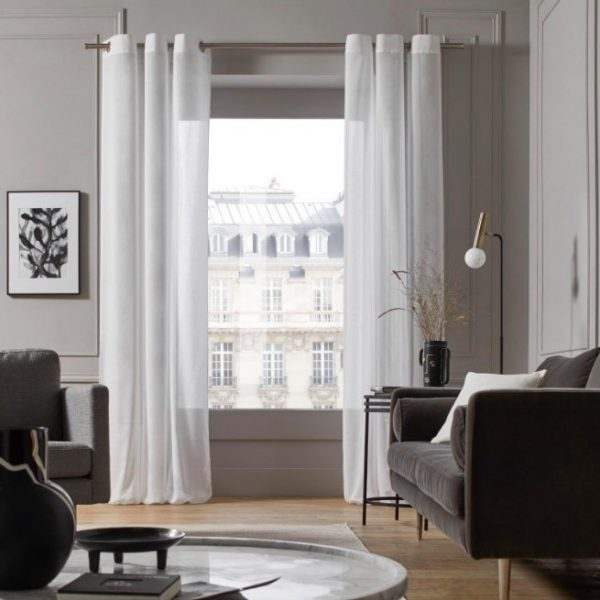 Beige Linen Sheer Curtain