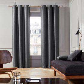 Dark Grey Cotton Curtain